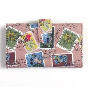 Safe Keeper Floral Postage Stamp Pink Wallet